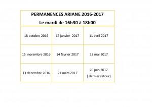 permanences ARIANE 2016-2017